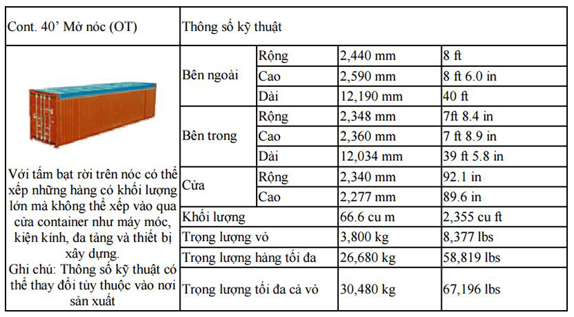 Container Mở Nóc 40 Feet